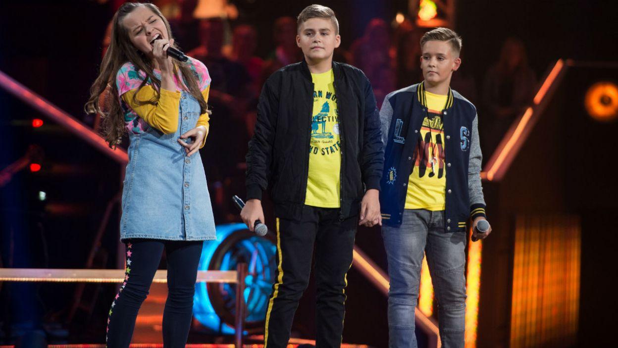 Daria, Krystian i Dominik świetnie dogadywali się na scenie. Do kolejnego etapu przeszła jednak Daria (fot. J. Bogacz/TVP)