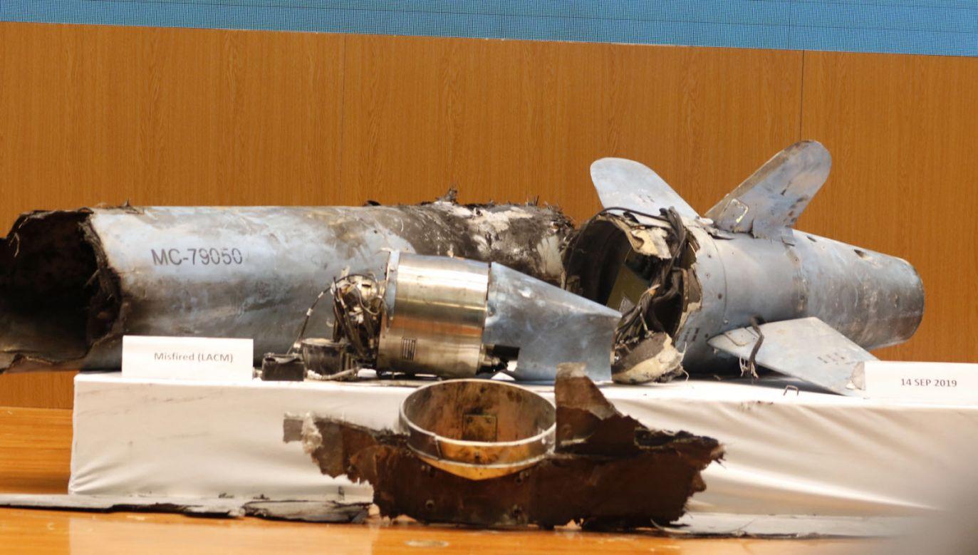 Szczątki drona, który uderzył w saudyjskie obiekty naftowe (fot. PAP/EPA/STRINGER)