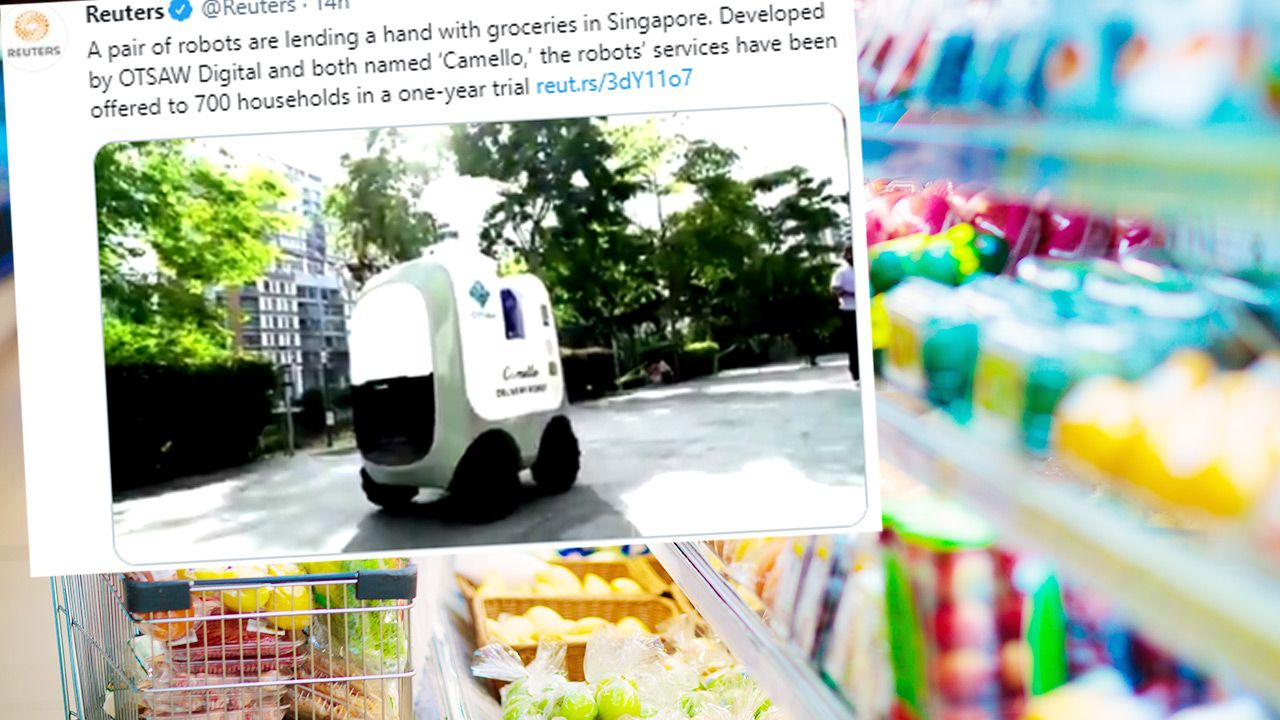 Dwa roboty dostarczają mieszkańcom Singapuru zakupy spożywcze (fot. Shutterstock; TT)