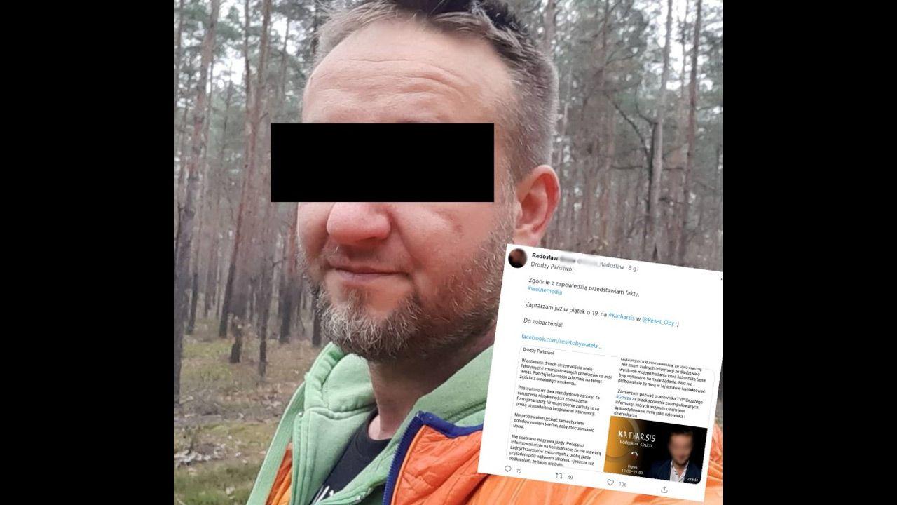 Radosław G. ma zastosowany dozór. Usłyszał zarzuty (fot. Radosław G./Facebook / @G._Radoslaw/Twitter)