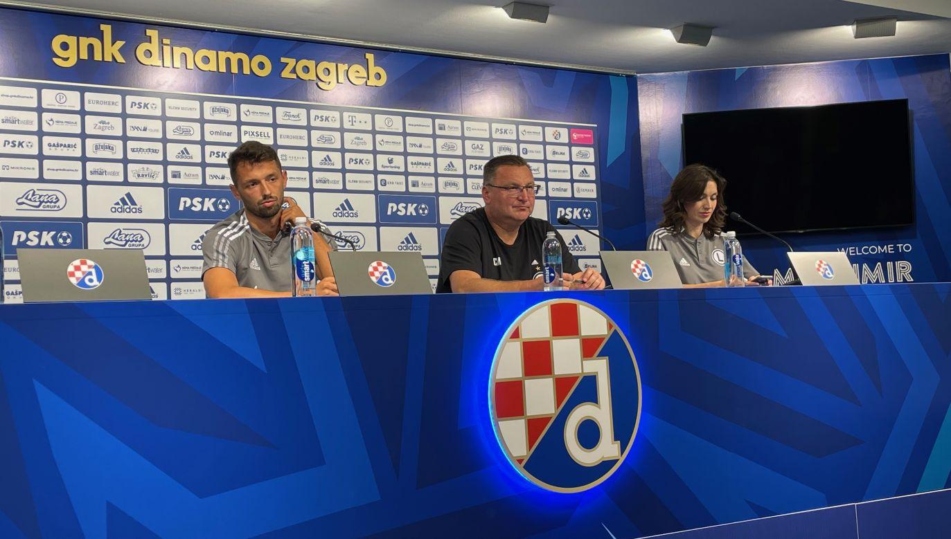 Czesław Michniewicz i Mateusz Wieteska przed meczem Dinamo – Legia (fot: TVP)