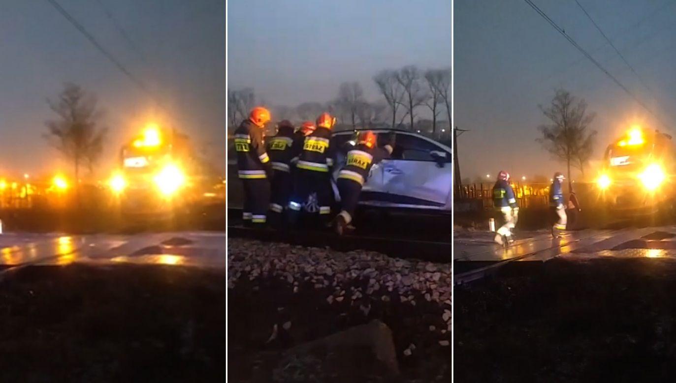 Według ustaleń policji 40–letnia kobieta twierdziła, że nie zauważyła nadjeżdżającego pociągu (fot. FB/Powiatowa)