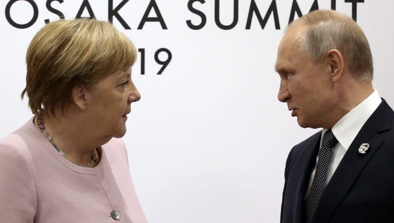 Angela Merkel i Władimir Putin (fot. Mikhail Svetlov/Getty Images)