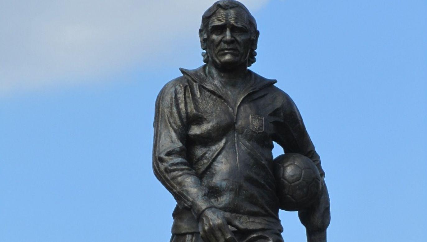A statue of Polish football hero Kazimierz Górski outside Warsaw's PGE Narodowy Stadium