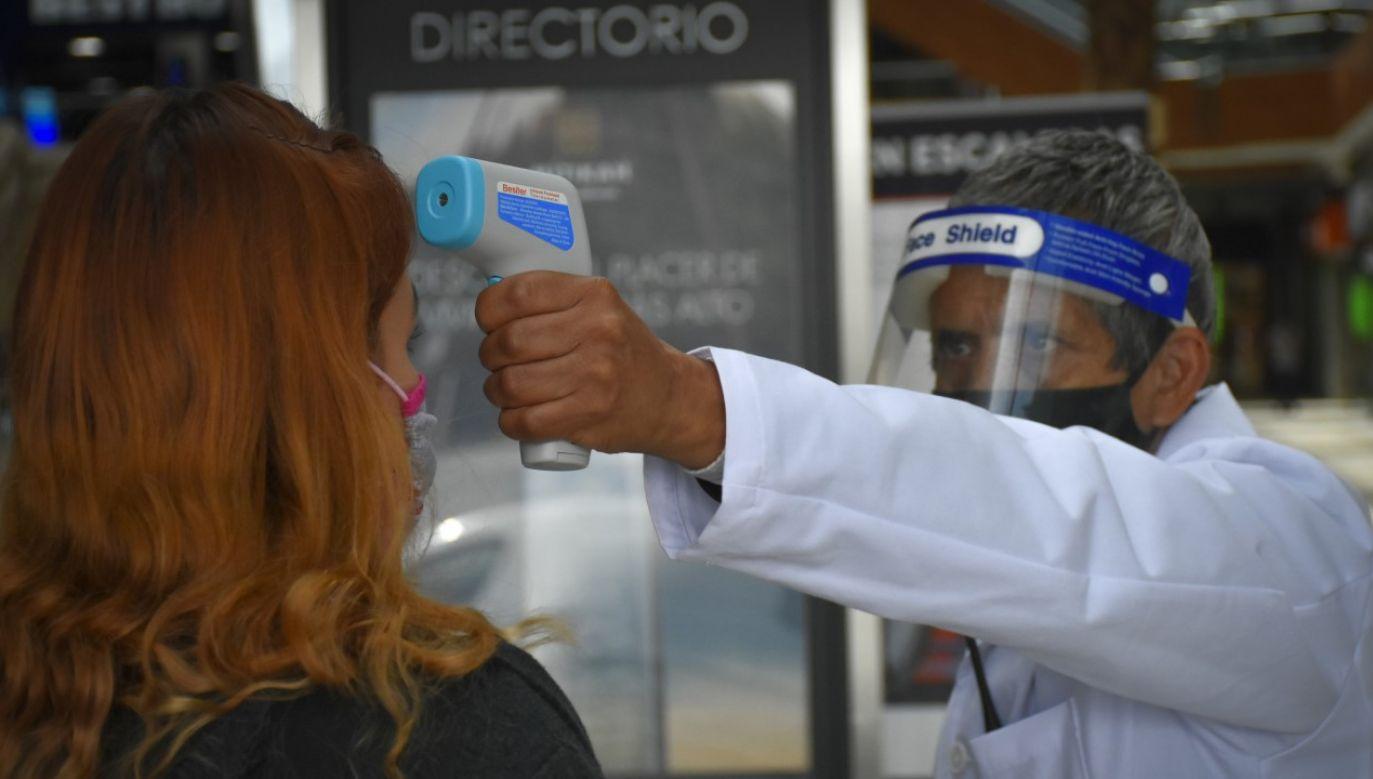 Kontrola temperatury ciała przed wejściem do centrum handlowego w Meksyku (fot. Guillermo Gutiérrez/NurPhoto via Getty Images)