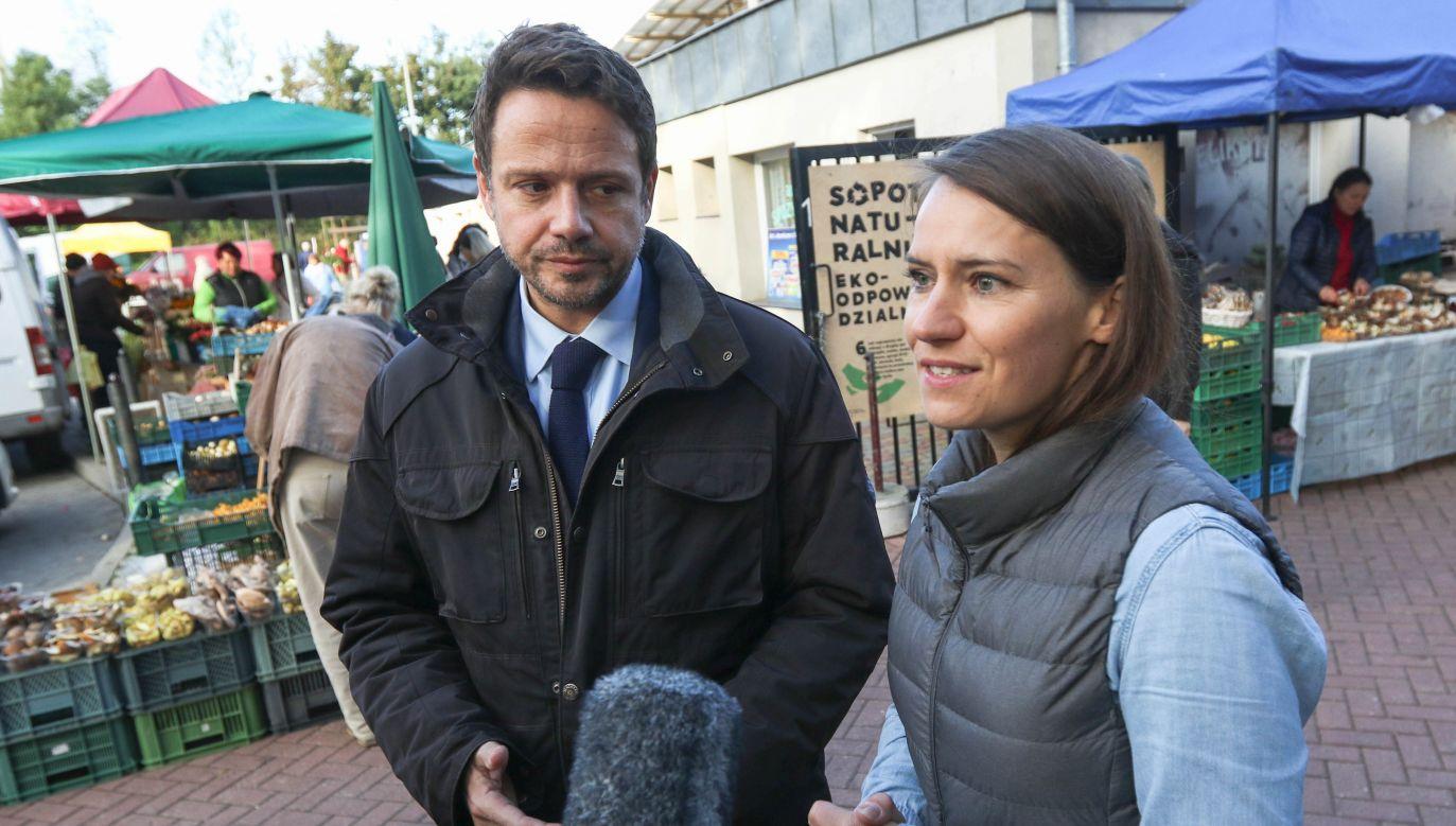 Agnieszka Pomaska i Rafał Trzaskowski (fot. Michal Fludra/NurPhoto via Getty Images)