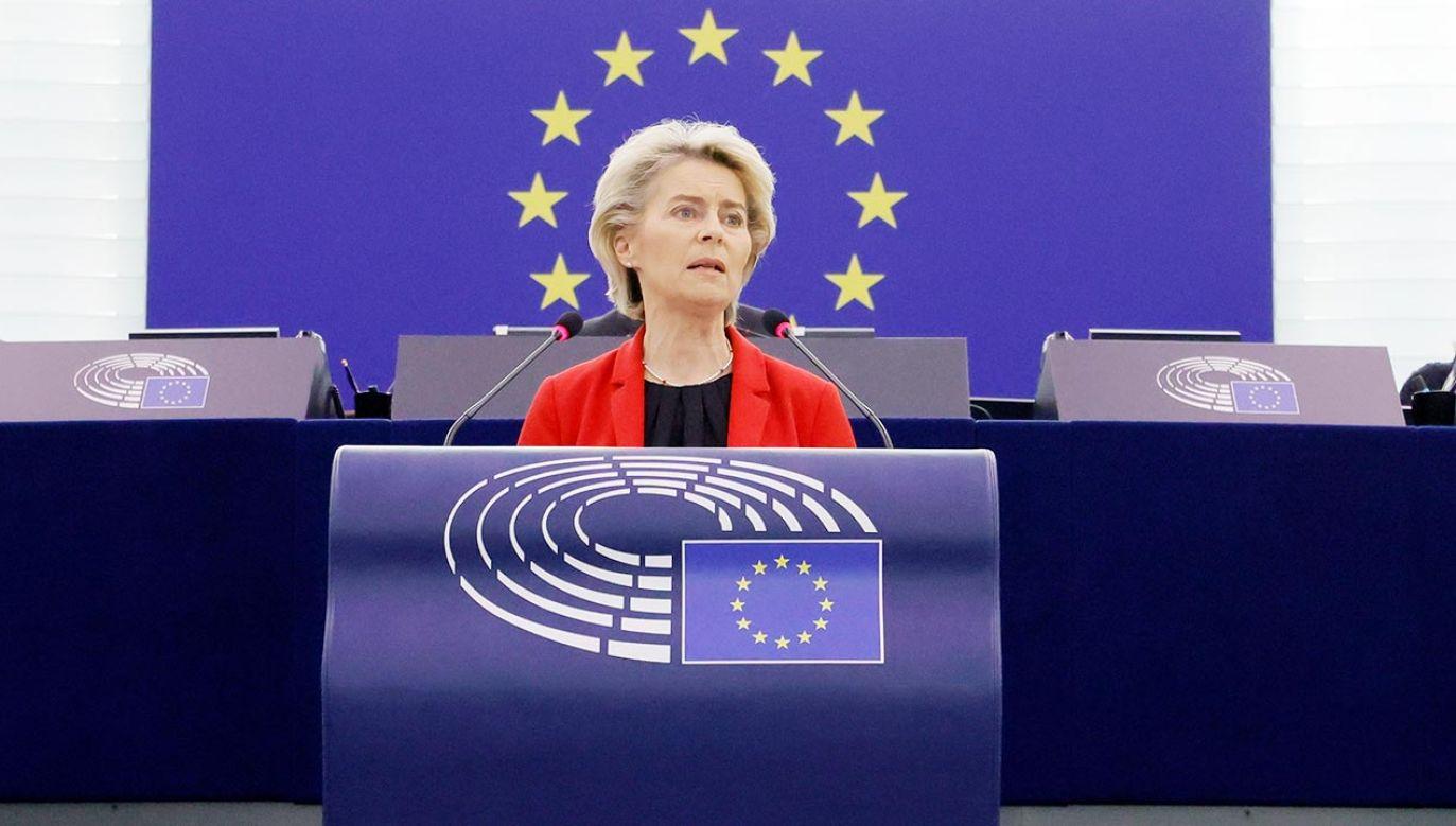 Szefowa KEN zabrałą głos na zakończenie debaty w PE (fot. PAP/EPA/RONALD WITTEK / POOL)
