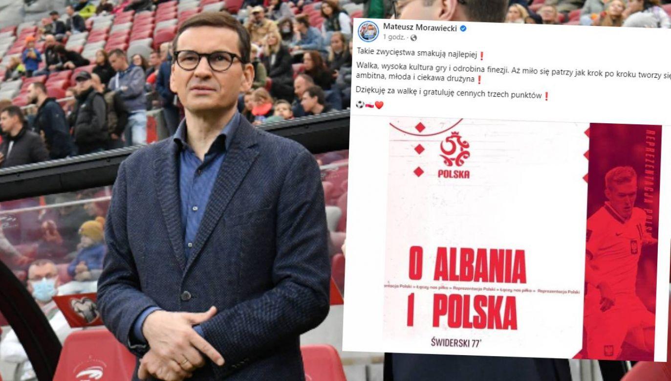 Premier Mateusz Morawiecki pogratulował piłkarzom (fot. PAP/Piotr Nowak/FB)
