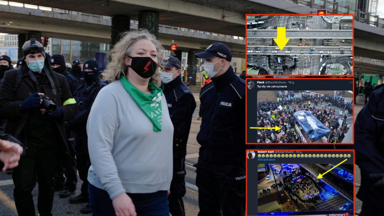 Marta Lempart, liderka Strajku Kobiet (fot. PAP/Mateusz Marek, twitter.com/BlackMcSnow, twitter.com/RobertKwit5, twitter.com/ɐllǝnuɐɯɯı)