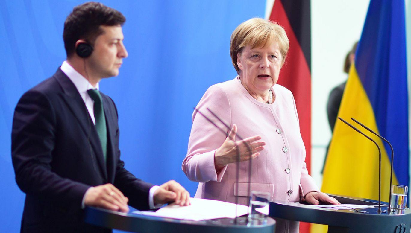 Niemiecka kanclerz, która w tym dniu przyjęła przebywającego z pierwszą wizytą w Niemczech nowego prezydenta Ukrainy Wołodymyra Zełenskiego, powiedziała, że omówiła z nim miński proces pokojowy (fot. PAP/EPA/CLEMENS BILAN)