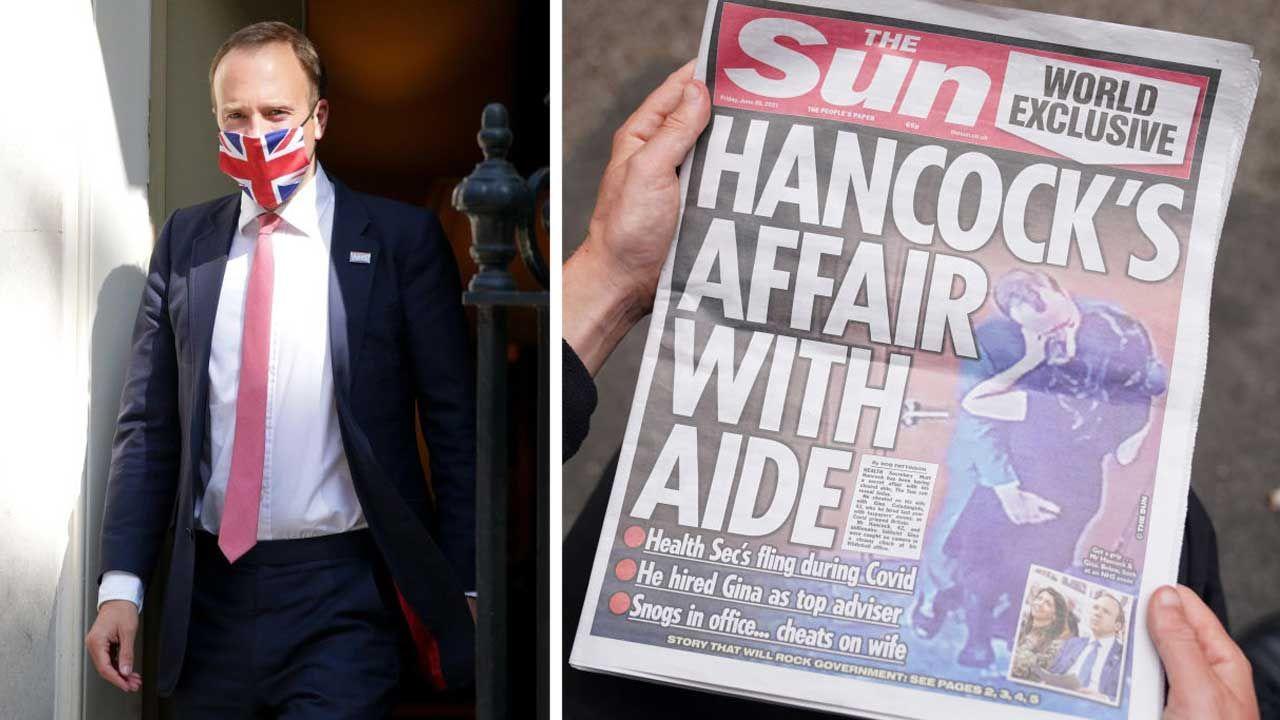 Matt Hancock. Tabloid ujawnił zdjęcia brytyjskiego ministra zdrowia z kochanką (fot. Kirsty O'Connor/PA Images; David Cliff/Anadolu Agency via Getty Images)
