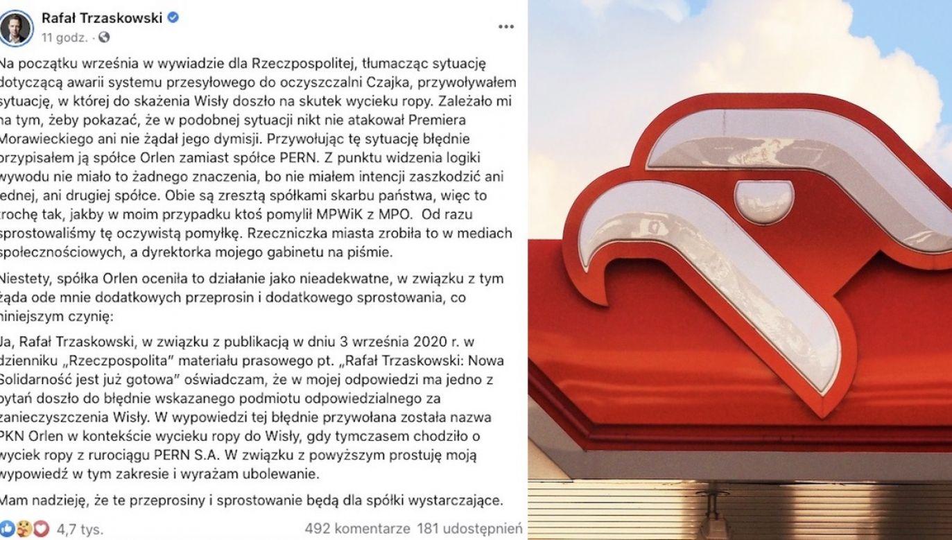 """Rafał Trzaskowski powiedział, że """"doszło do wycieku szkodliwych substancji z Orlenu i nikt nie robił z tego wielkiego problemu"""" (fot. FB, Shutterstock)"""