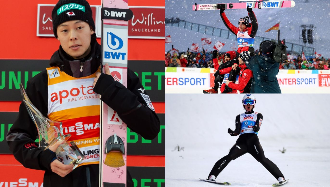 Ryoyu Kobayashi (L) - zwycięzca ostatniego sezonu PŚ. Wśród faworytów nadchodzącej zimy są też Dawid Kubacki (P, góra) i Kamil Stoch (P, dół) (fot. Getty)