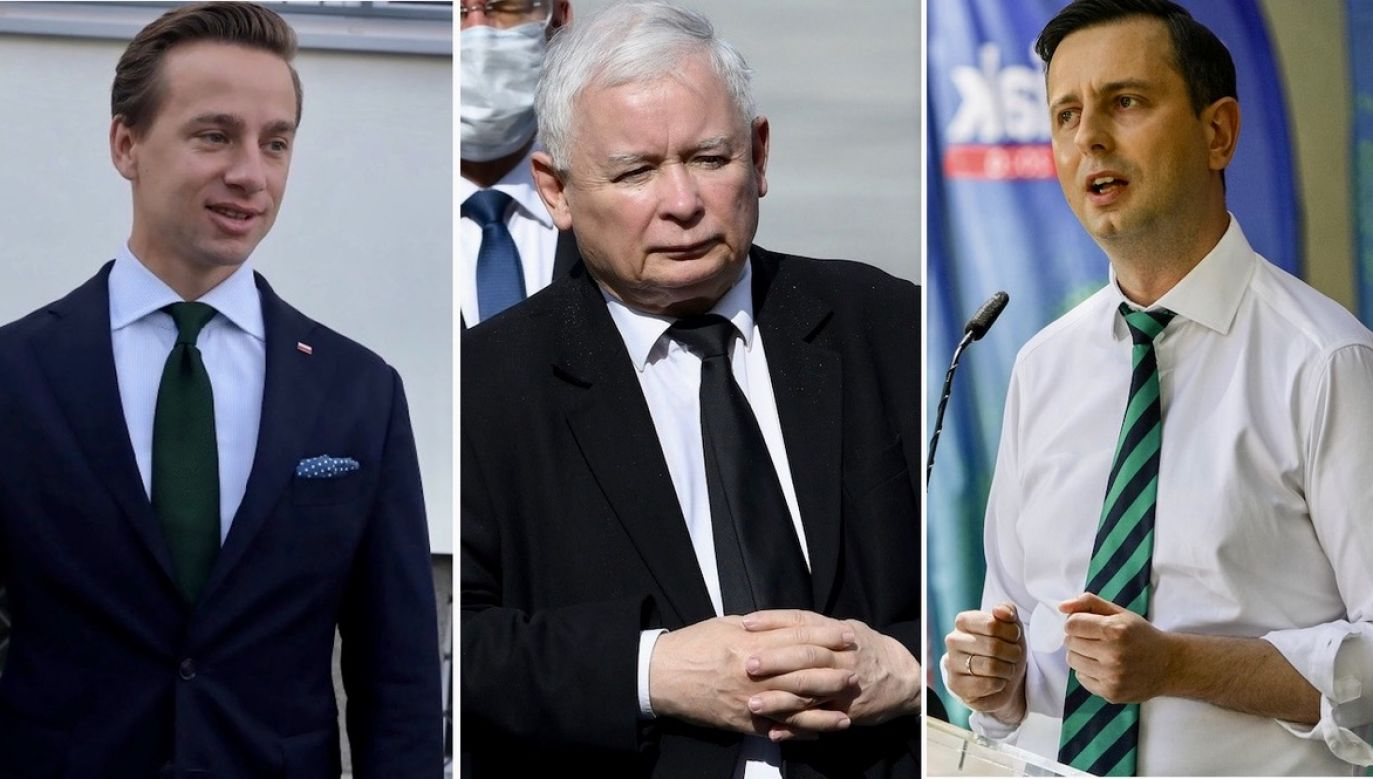 Krzysztof Bosak, Jarosław Kaczyński, Władysław Kosiniak-Kamysz (fot. PAP/Radek Pietruszka/ PAP/Tomasz Gzell/ Filip Radwanski/ SOPA Images/ LightRocket via Getty Images)