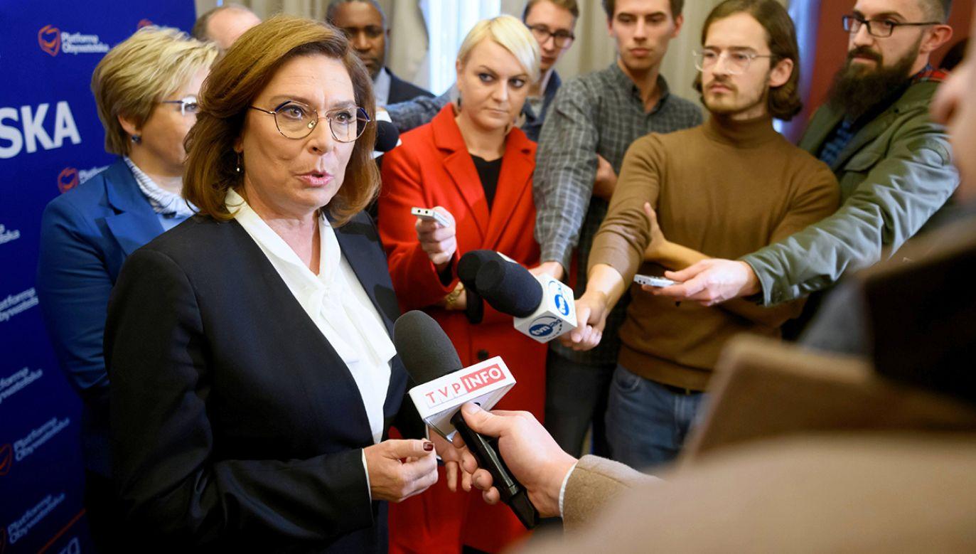 Ostatnio Małgorzata Kidawa-Błońska apelowała do prezydenta Andrzeja Dudy o zawetowanie nowelizacji (fot. arch. PAP/Jakub Kaczmarczyk)