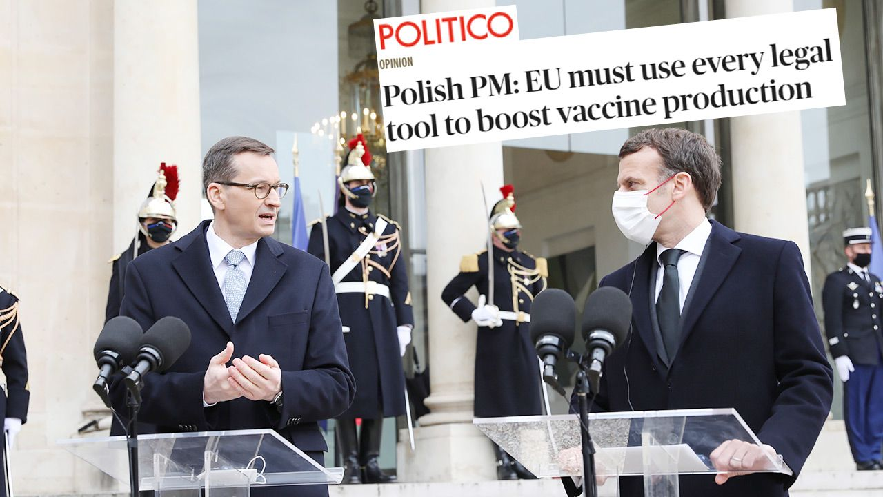 Premier w tekście dla Politico komentuje działania UE ws. szczepionek przeciw COVID-19 (fot. PAP/Leszek Szymański)