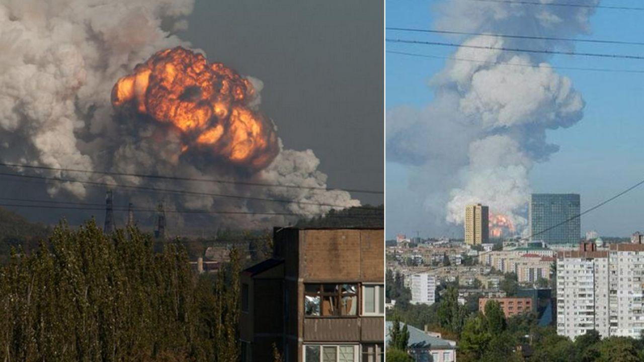 Wybuch zakładów chemicznych w Doniecku (fot. novosti.dn.ua/youtube)