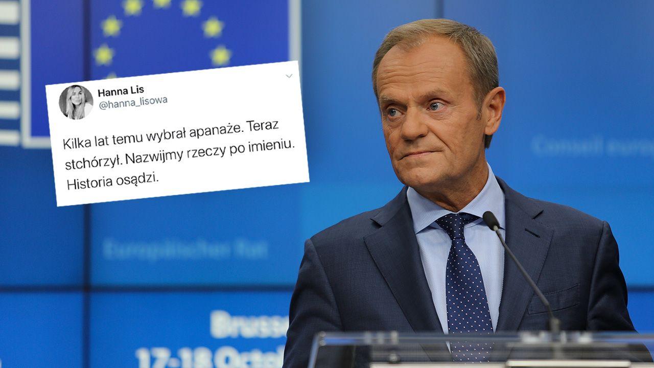 Wpis dotyczący Donalda Tuska został usunięty wkrótce po publikacji (fot. Nicolas Economou/NurPhoto via Getty Images)
