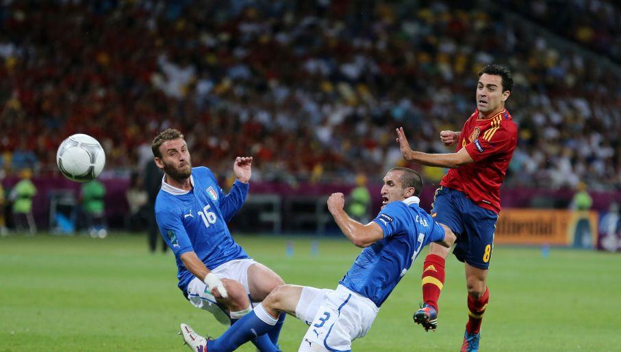 Giorgio Chiellini w jednej z ostatnich akcji podczas finału Euro 2012 (fot. Getty)