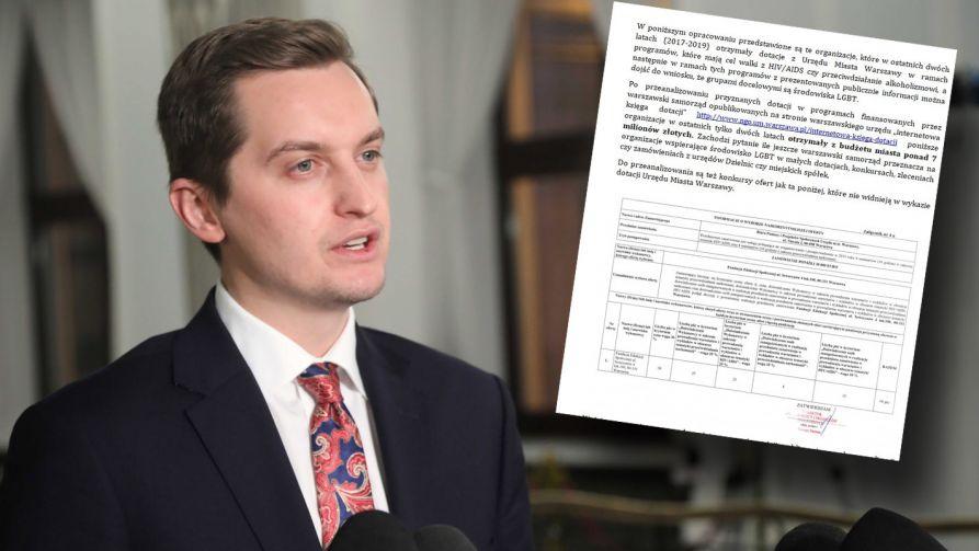 Poseł ma zaprezentować raport dotyczący finansowania skrajnie lewicowych organizacji przez stołeczny ratusz (fot. PAP/Wojciech Olkuśnik)