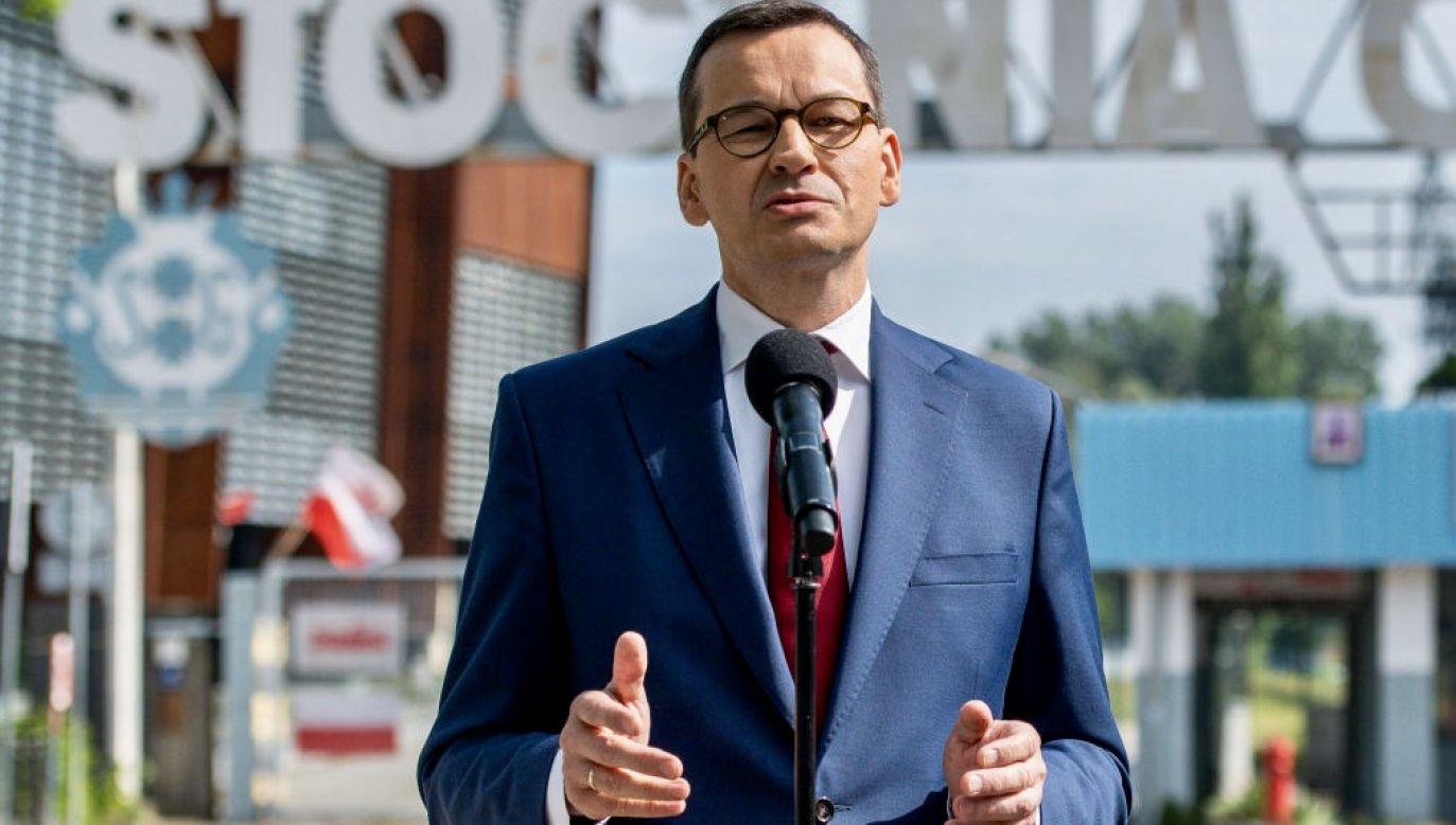 """""""Bezpieczeństwo technologiczne, podobnie jak bezpieczeństwo epidemiologiczne, jest kluczowym wymiarem bezpieczeństwa narodowego"""" – podkreślił premier (fot. Mateusz Slodkowski/SOPA Images/LightRocket via Getty Images)"""