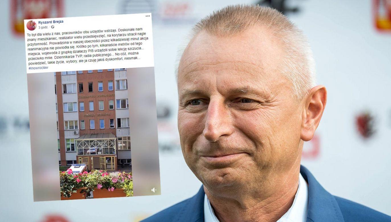 Do wymiany zdań pomiędzy prezydentem a radnym Inowrocławia doszło na Facebooku (fot.  PAP/Tytus Żmijewski; Facebook/Ryszard Brejza)