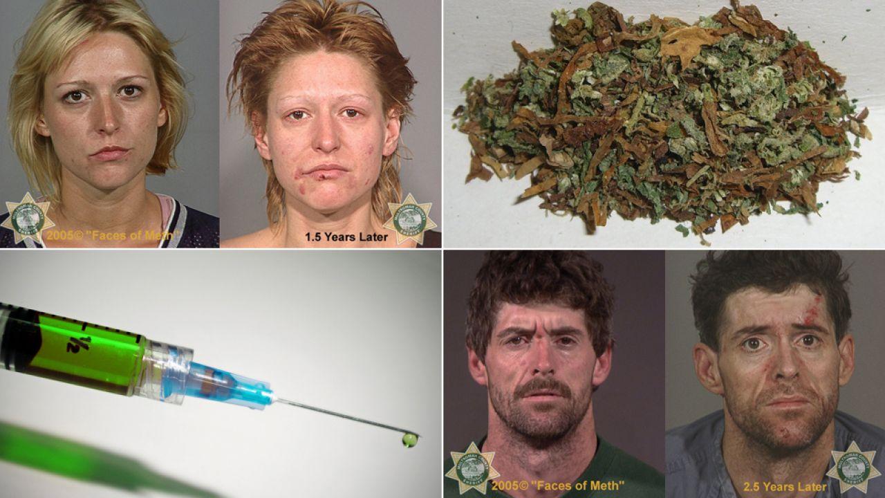 Narkotyki wyniszczają organizm, zmieniają wygląd i zabijają (fot. freeimages.com/Wikipedia/facesofmeth.us)