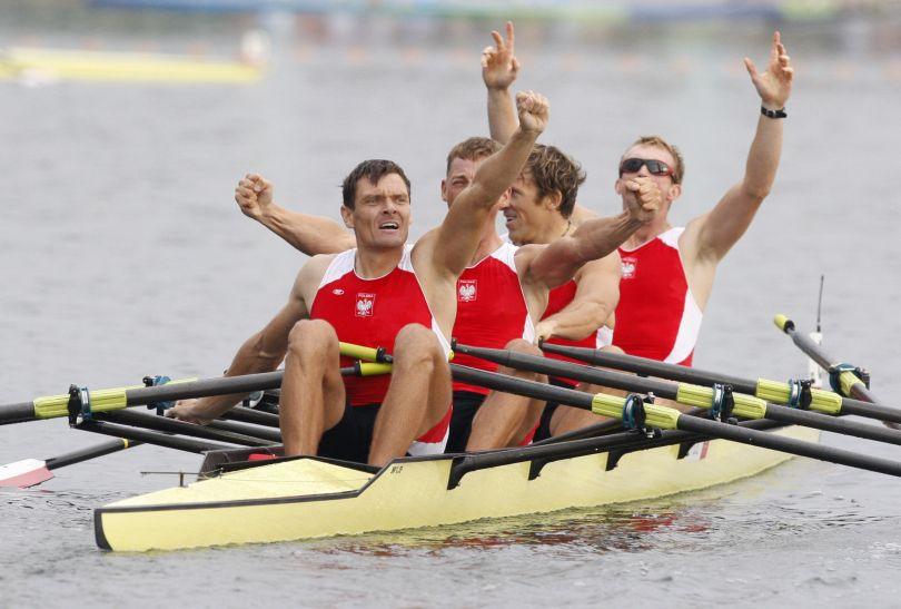 Adam Korol, Michał Jeliński, Marek Kolbowicz i Konrad Wasilewski – złoci wioślarze z Pekinu (fot. Getty Images)