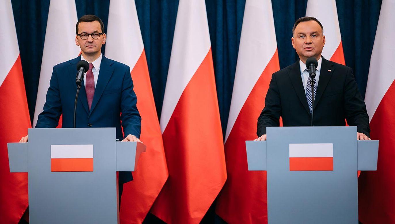 Wspólne oświadczenie szefa rządu i głowy państwa (fot. Krystian Maj/KPRM)