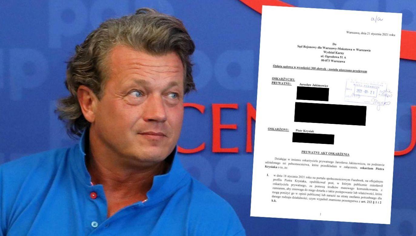 Jarosław Jakimowicz skierował do sądu pozew oraz prywatny akt oskarżenia (fot. PAP/Rafał Guz)