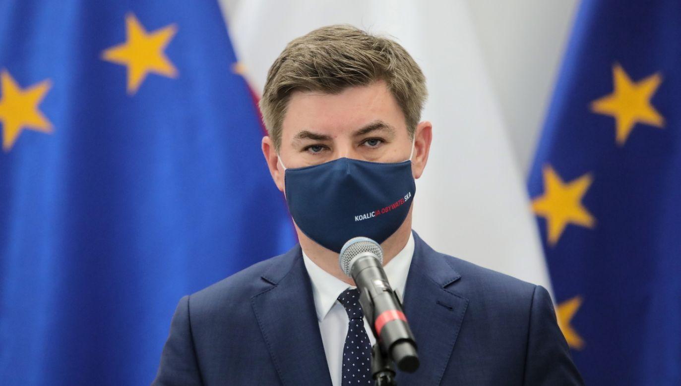 Rzecznik prasowy PO Jan Grabiec (fot. PAP/Wojciech Olkuśnik)