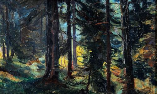 Barbacki sięgał również po motywy z pejzażem, wnętrzem lasu, drogą czy strumieniem.. Fot. Piotr Droździk