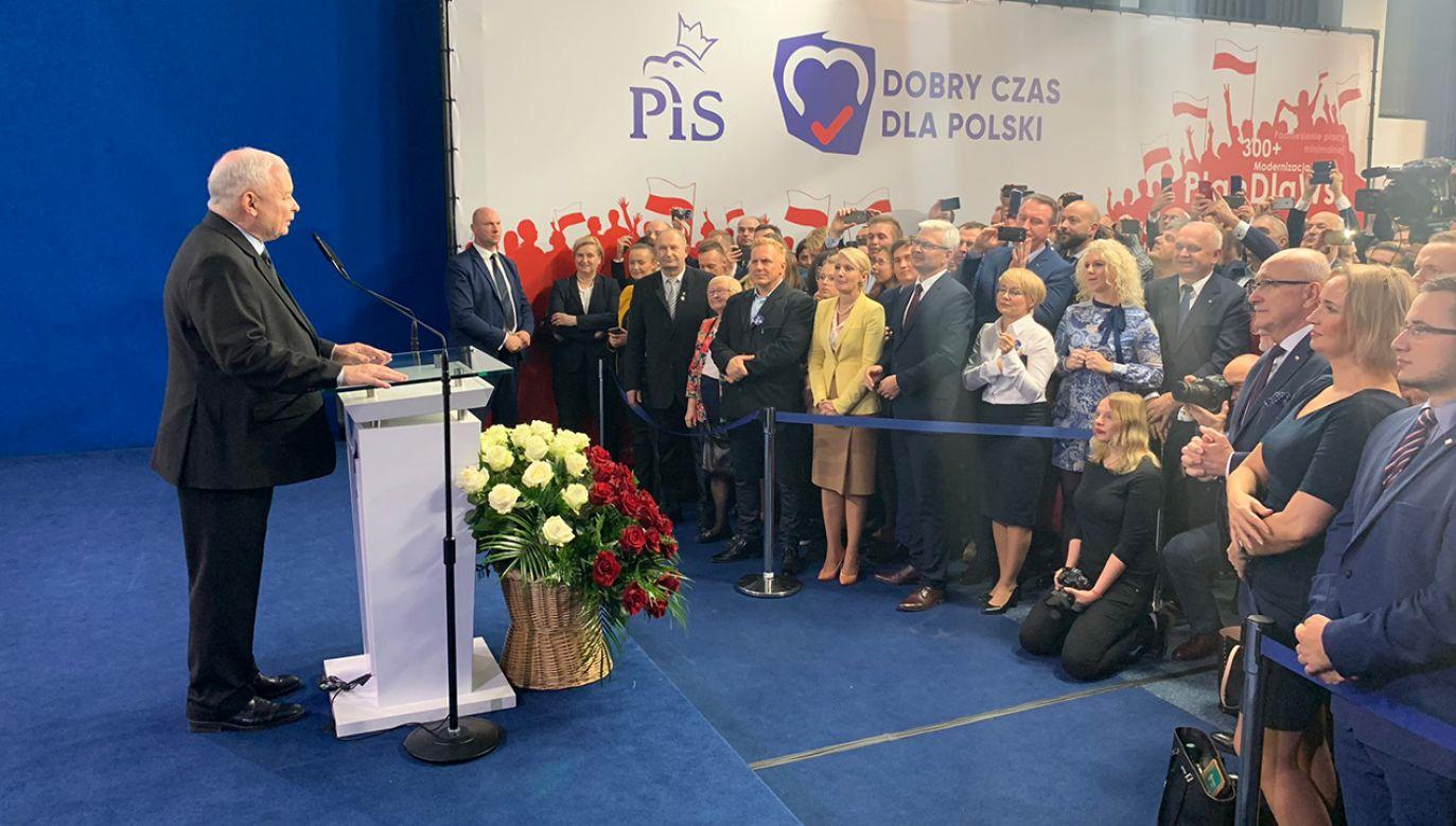 Prezes PiS ocenił wstępny wynik wyborów (fot. TT/Prawo i Sprawiedliwość)