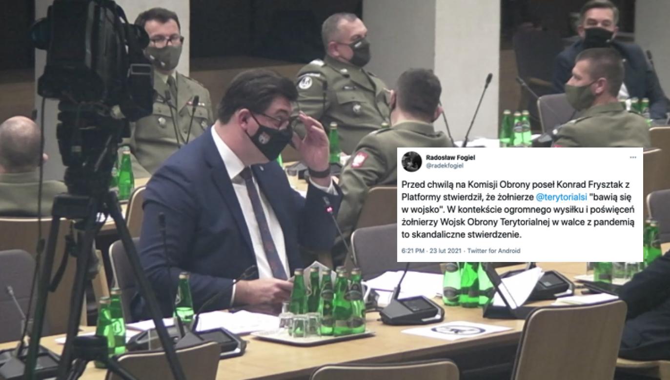 Konrad Frysztak na posiedzeniu komisji obrony narodowej (fot. sejm.gov)
