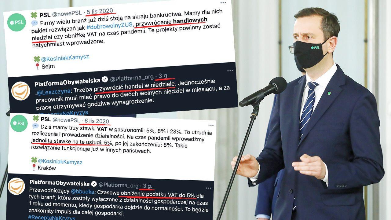 """""""Dobre pomysły zawsze uzyskają poparcie"""" – skomentowali ludowcy. (fot. PAP/Rafał Guz; TT/PSL)"""
