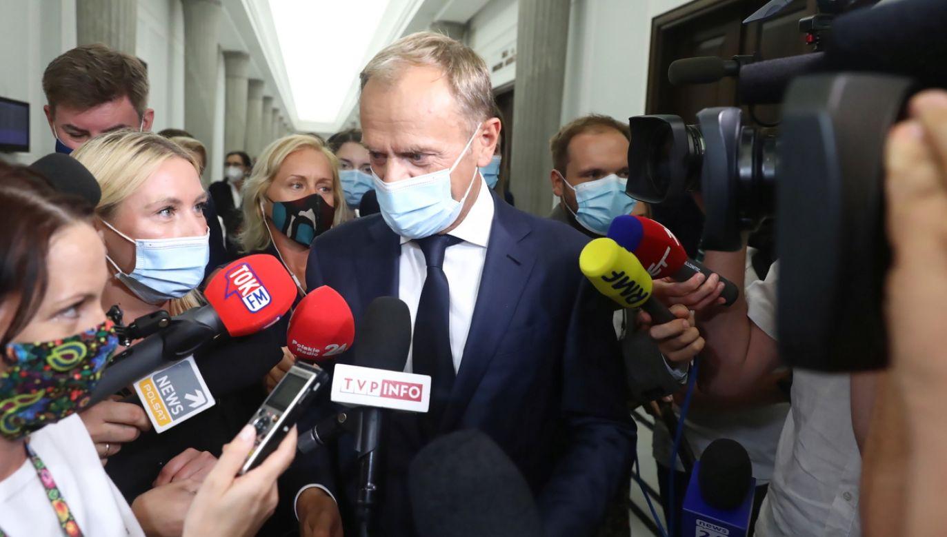 Donald Tusk, lider Platformy Obywatelskiej (fot. PAP/Tomasz Gzell)