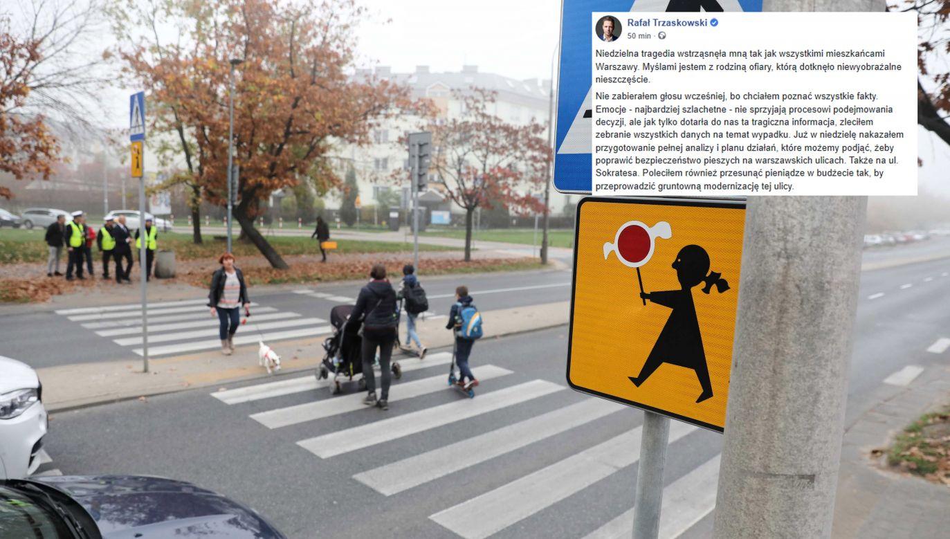Przejście dla pieszych, 23 bm. na ulicy Sokratesa w Warszawie, na którym 20 bm. doszło do śmiertelnego wypadku (fot. PAP/Tomasz Gzell, FB)