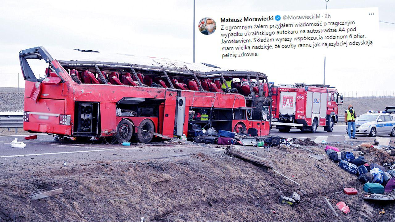 Do wypadku doszło w pobliżu MOP-u Kaszyce na A4 (fot. PAP/Darek Delmanowicz; TT/Mateusz Morawiecki)