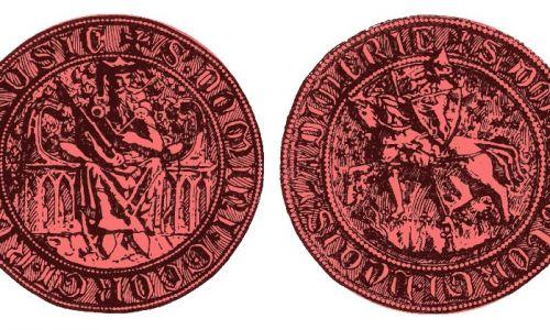Lew na tarczy - na pieczęci Jerzego Halickiego, wnuka Daniła, 1308. Fot. Wikimedia