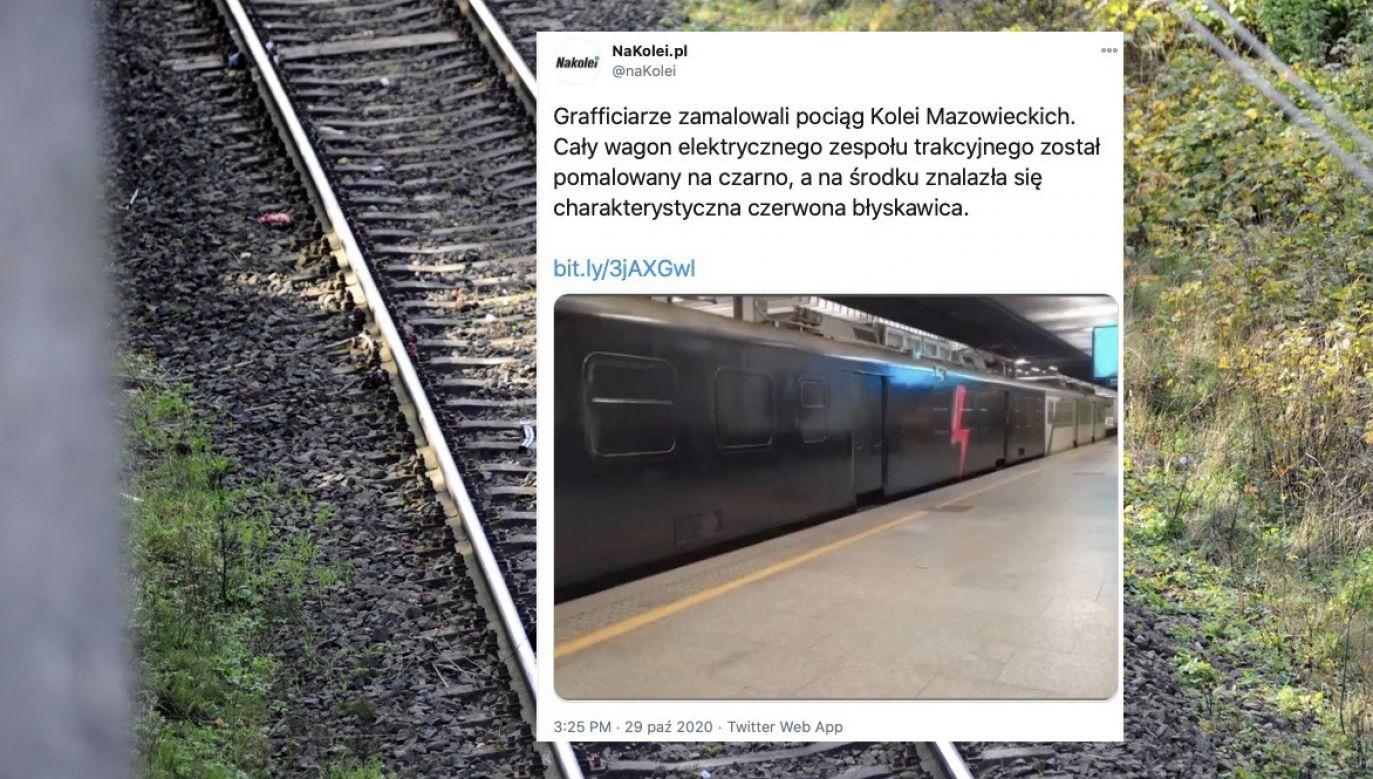 Koleje Mazowieckie mówią o wandalizmie (fot. PAP, tt/@nakolei)