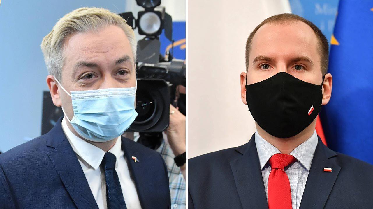 Robert Biedroń i Adam Andruszkiewicz o TVN (fot. PAP/Radek Pietruszka, Piotr Nowak)