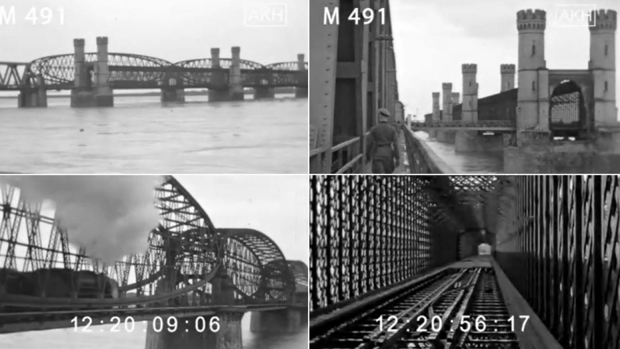Na niemieckich nagraniach utrwalono mosty w Tczewie (fot. kadry z filmu)