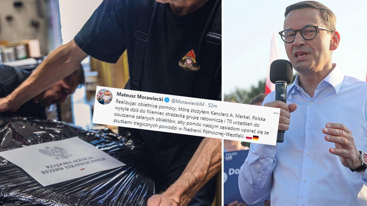 Polska wysyła dziś do Niemiec strażacką grupę ratowniczą i 70 urządzeń do osuszania zalanych obiektów – poinformował Mateusz Morawiecki (fot. TT/Państwowa Straż Pożarna; PAP/Artur Reszko)