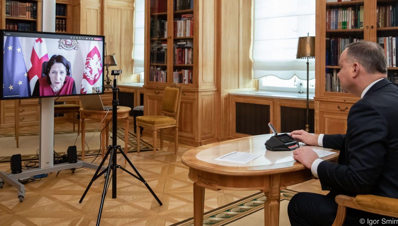 Polish President Andrzej Duda during a video call with President of Georgia, Salome Zourabichvili. Photo: Igor Smirnow/KPRP