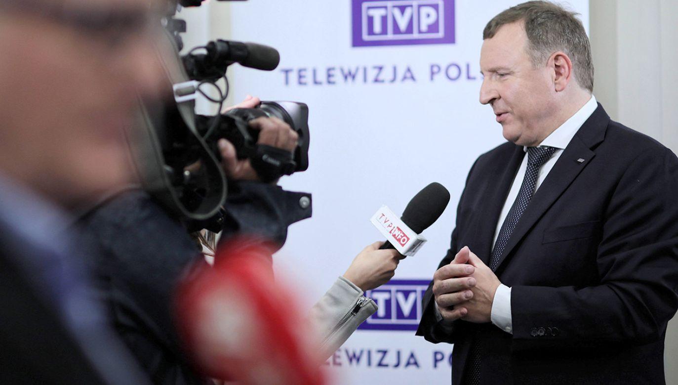 Prezes Jacek Kurski wskazał, że TVP przełamuje monopol informacyjny (fot. arch.PAP/Leszek Szymański)
