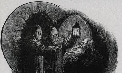 Koniec XV wieku. Hiszpański Żyd aresztowany i wtrącony do więzienia. Grawerowanie 1891. Fot.Universal History Archive / UIG via Getty Images