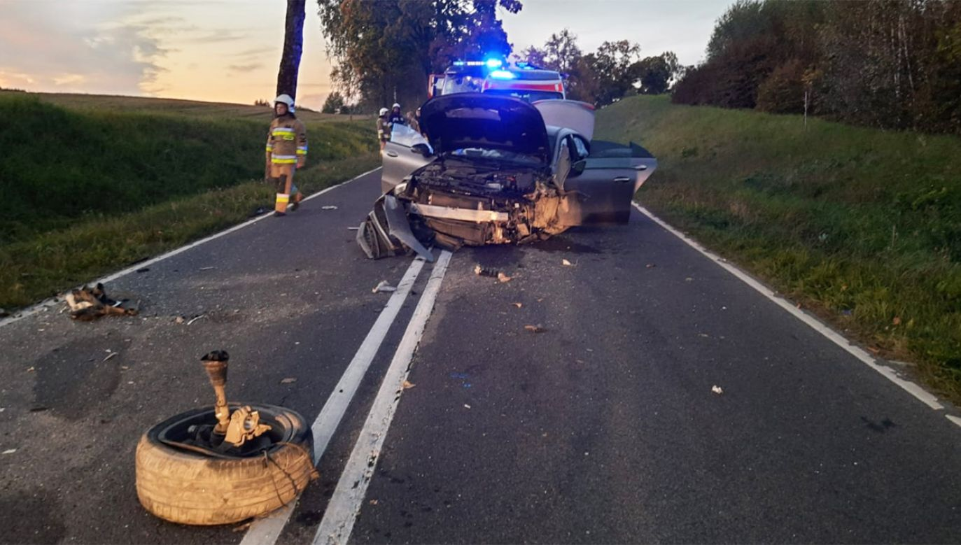 Tragiczny wypadek pod Olsztynem (fot. tt/@kmpolsztyn)