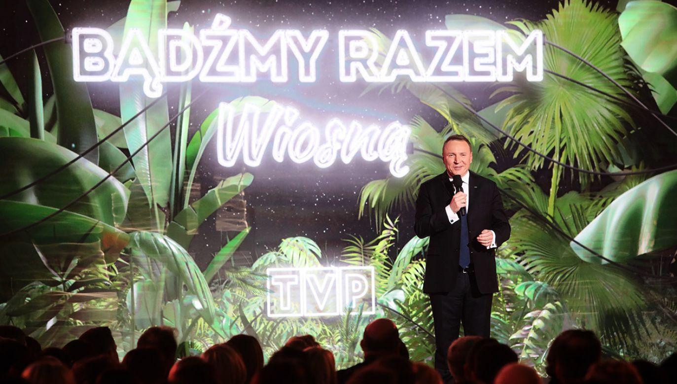 Jacek Kurski podsumował zimową ramówkę Telewizji Polskiej (fot. PAP/Wojciech Olkuśnik)
