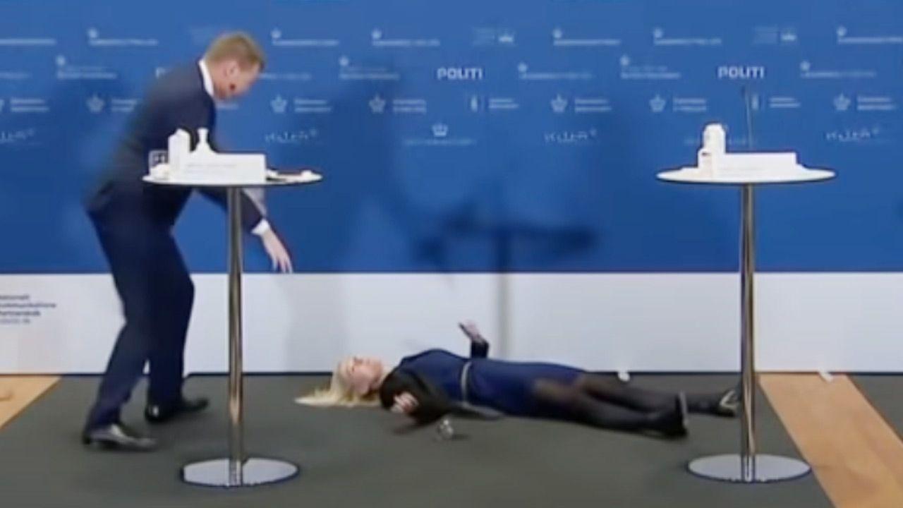 Natychmiast ruszyli na pomoc szefowej Duńskiej Agencji Leków (fot. You Tube/ michael moran)