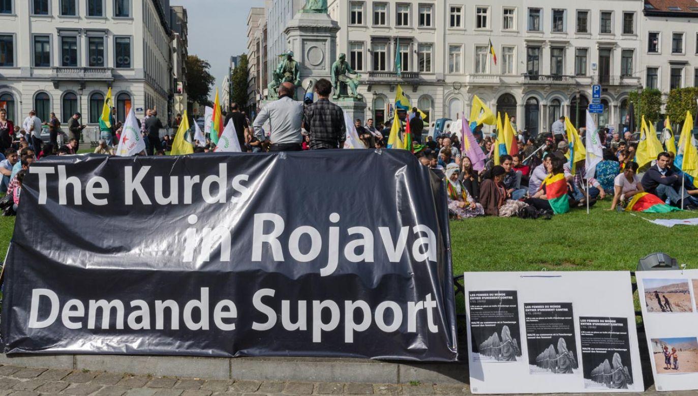 Kurdyjskie akcje wsparcia dla Rożawy organizowane są m.in. w Brukseli (fot. NurPhoto/Corbis via Getty Images)